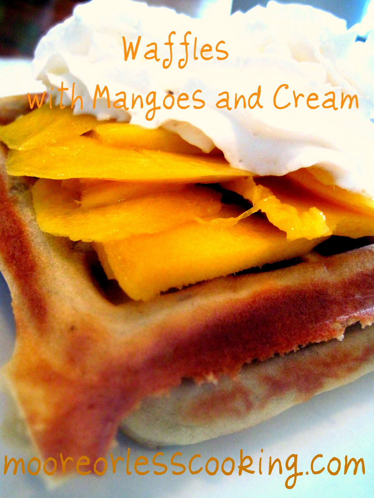 Waffles with Mangoes and Cream