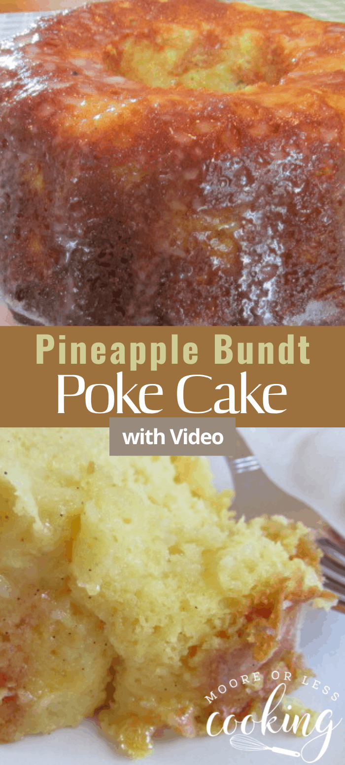 Pineapple Bundt Poke Cake is a simple, delicious, and moist poke cake. #pineapple #bundtcake #cake #pokecake #dessert #recipe via @Mooreorlesscook