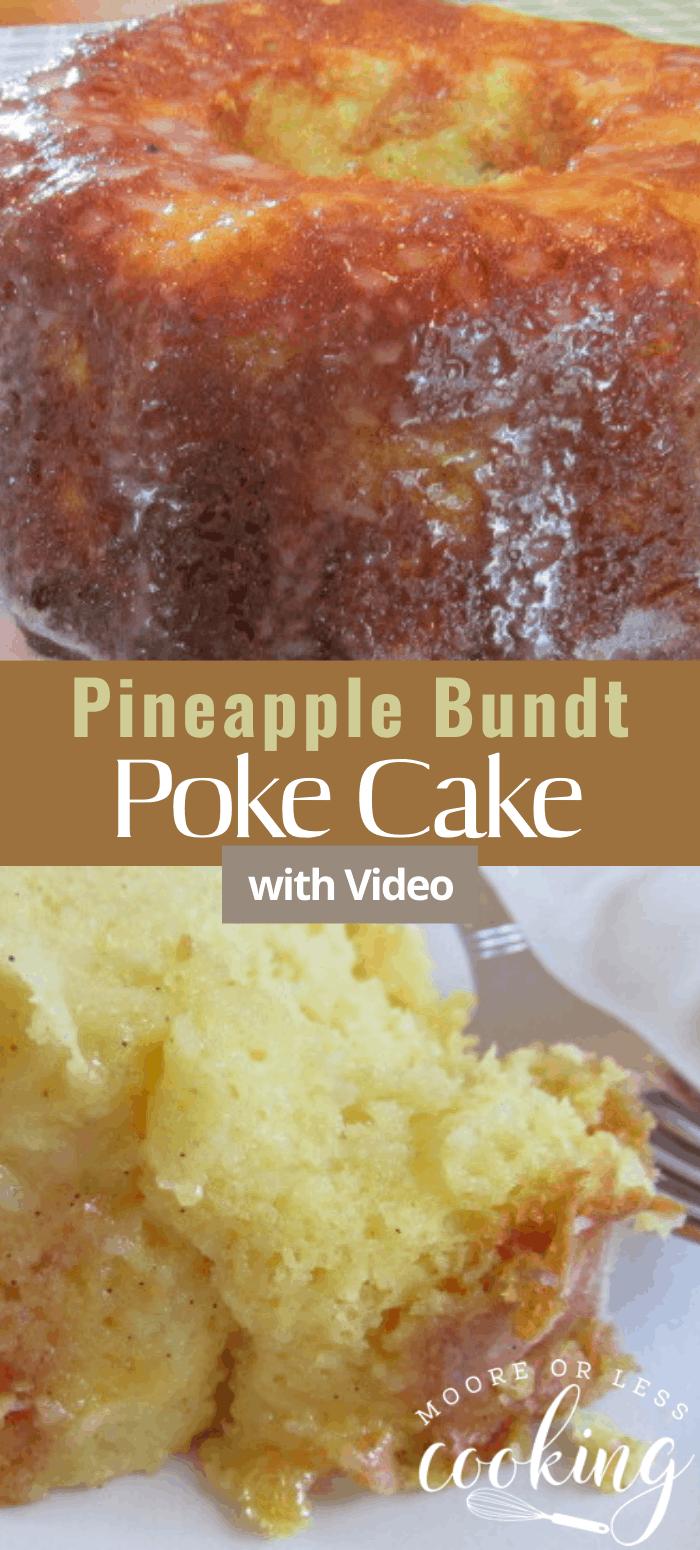 Pineapple Bundt Poke Cake is a simple, delicious, and moist poke cake. #pineapple #bundtcake #cake #pokecake #dessert #recipe via @Mooreorlesscook