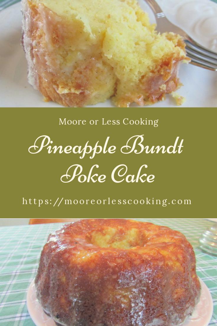 Pineapple Bundt Poke Cake pin slice of cake and full cake on white plate