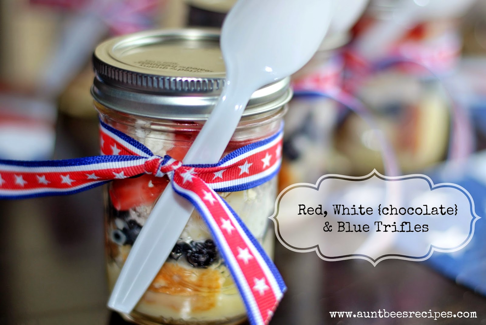 Red, White {chocolate} & Blue Trifles | Aunt Bee's Recipes