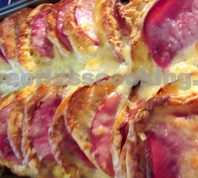 English Muffin, Ham and Egg Strata (Overnight Bake)