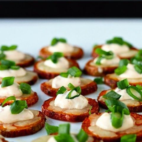 Cheesy Sweet Potato Coins with Chipotle Crema