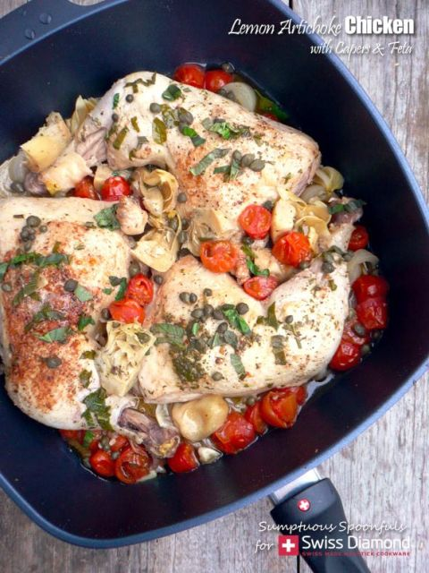 Lemon Artichoke Chicken with Capers & Feta Sauce