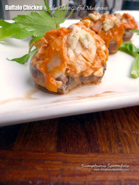 Buffalo Chicken & Blue Cheese Stuffed Mushrooms