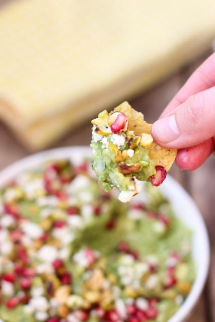 Guacamole with Feta, Pistachios and Pomegranate Seeds