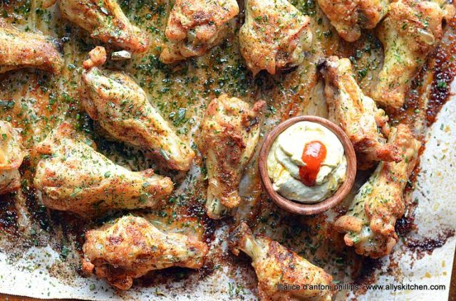Creole Drumettes with Herbs & Smoky Chipotle Sour Cream Sauce