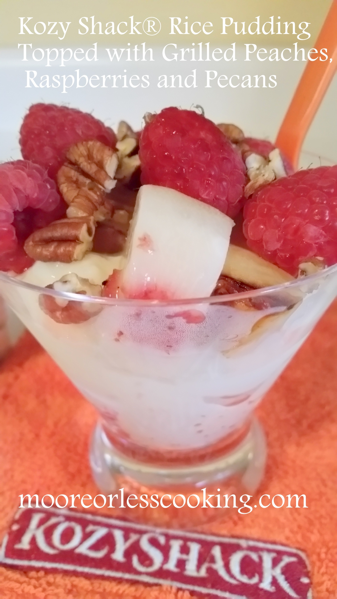Kozyshack Rice Pudding Topped with Grilled Peaches, Raspberries and Pecans