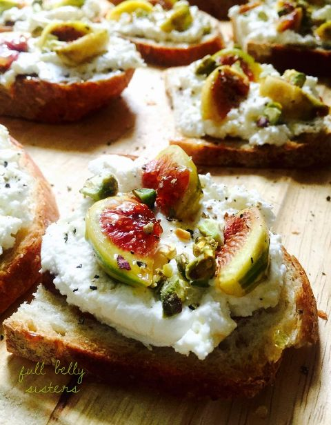 Roasted Fig, Ricotta, Pistachio & Honey Crostini
