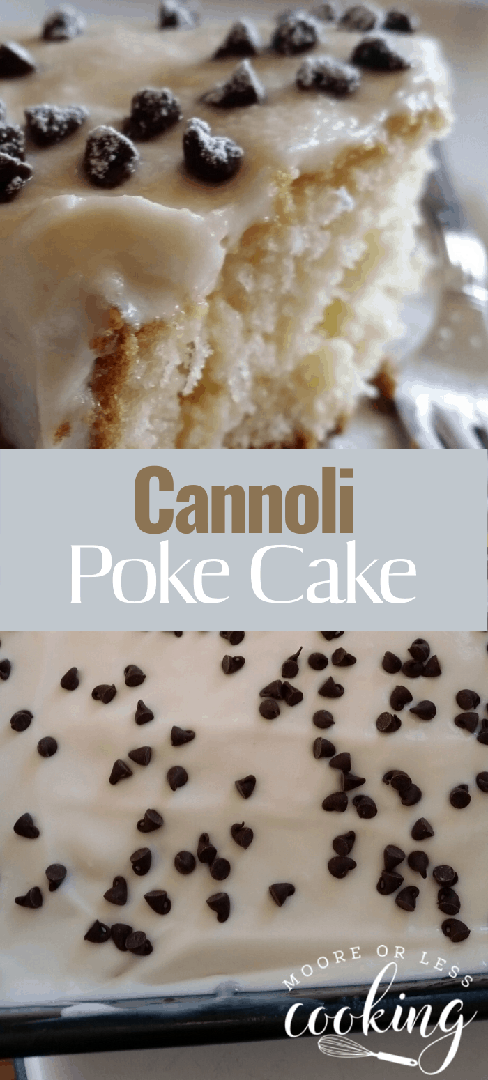 Cannoli Poke Cake. It's a light fluffy white cake filled with creamy mascarpone and ricotta frosting with mini chocolate chips sprinkled all over. #canollipokecake #cake #pokecake #dessert #mooreorlesscooking via @Mooreorlesscook