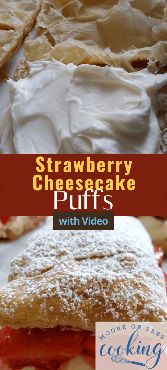 Quick and easy Strawberry Cheesecake Puffs. Delicate Puff Pastry filled with ripe and juicy strawberries, a rich no-bake cheesecake filling and a flavorful strawberry sauce. #dessert #mooreorlesscooking #strawberries via @Mooreorlesscook