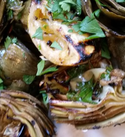 Grilled and Smothered Artichokes #WeekdaySupper