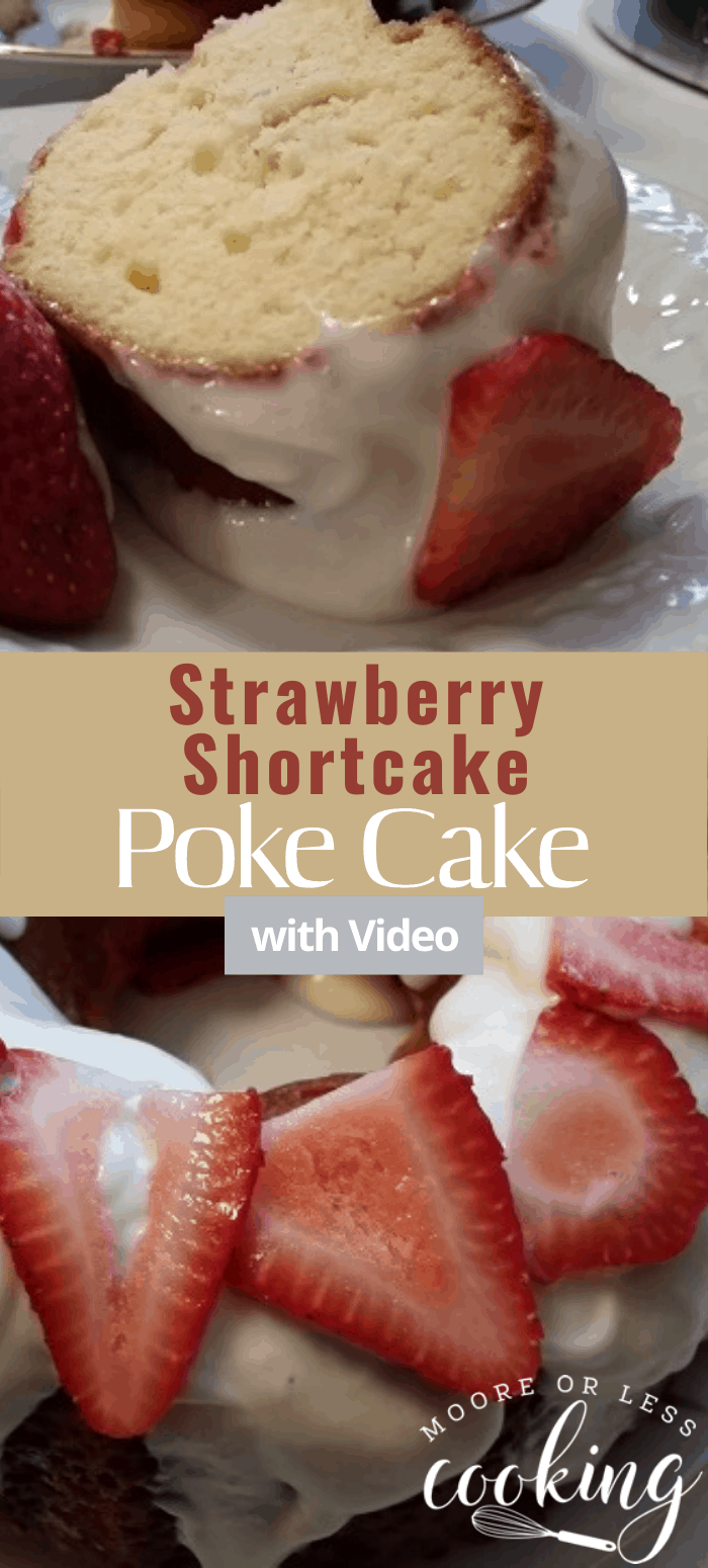 Moist delicious yellow bundt cake with fresh strawberries poking through and a cream cheese glaze topped with fresh berries. #strawberryshortcake #pokecake #cake #desserts #mooreorlesscooking via @Mooreorlesscook