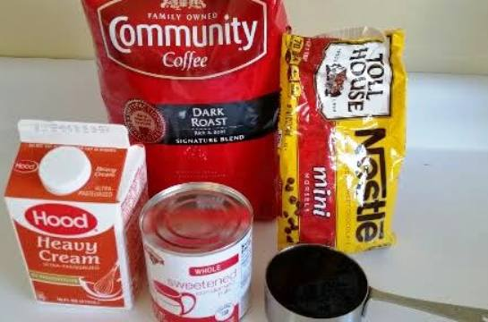 Ingredients for No Churn Mocha Chip Ice Cream