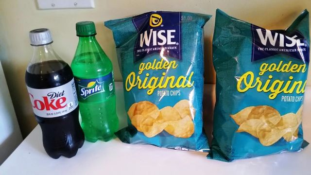 Diet Coke, Sprite, Wise Potato Chips