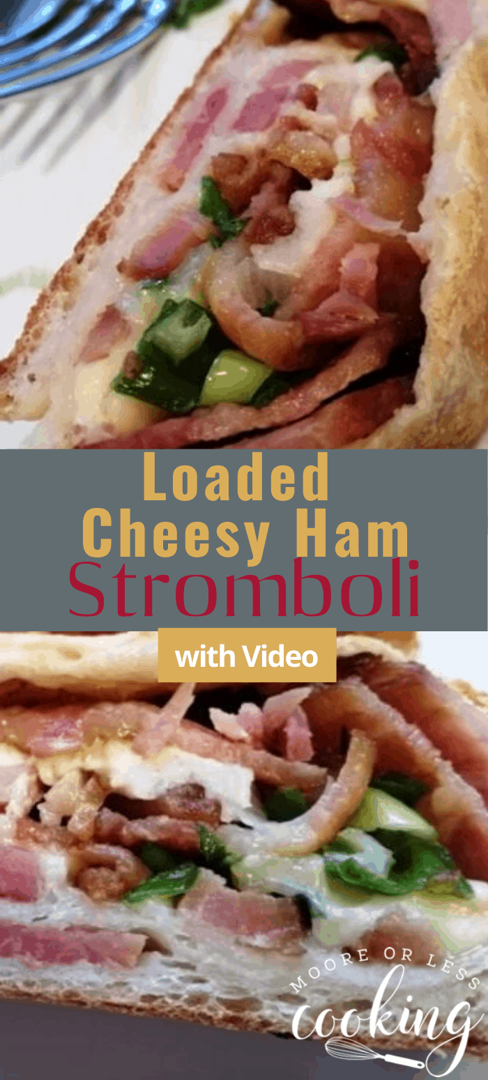 Delicious melted cheese, ham, bacon and green onion stromboli! Perfect for a weeknight or weekend dinner when you are pinched for time and are craving some Italian comfort food! via @Mooreorlesscook