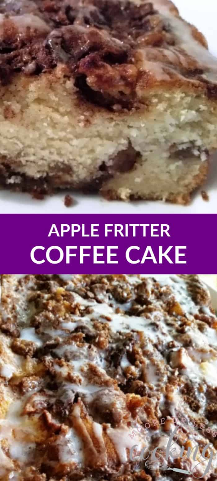 Moist Apple Coffee Cake filled with layers of cinnamon sugar streusel and apples covered with a light glaze. A wonderful option for breakfast, brunch, snack, or dessert. via @Mooreorlesscook