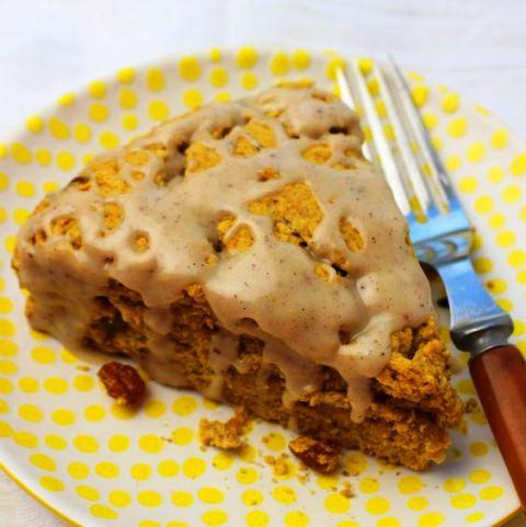 Pumpkin Raisin Scones Deliciously moist scones with autumn pumpkin flavors, raisins and a maple-cinnamon glaze. Get recipe here. Palatable Pastime