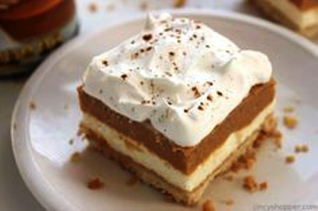 Pumpkin Lush Bars Layers of cream cheese filling, pumpkin pudding and whipped topping, all on top of a yummy shortbread crust. Get recipe here. CincyShopper