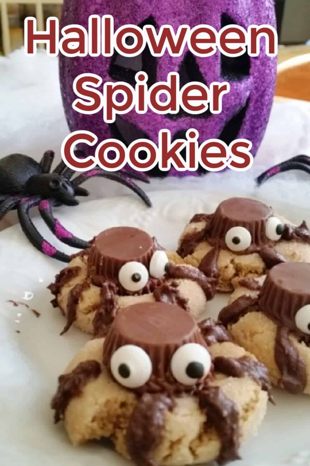 Halloween Spider Cookies: Chocolate Peanut Butter Halloween Cookies. A yummy peanut butter cookie with a chocolate peanut butter cup face and chocolate legs. This cookie will be a hit at your Halloween Party! via @Mooreorlesscook