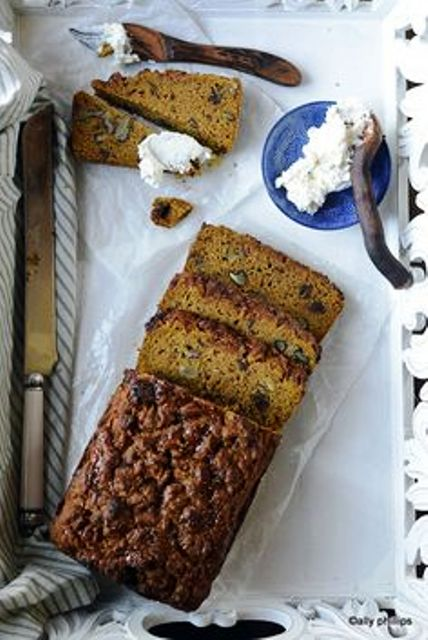 Pumpkin Fig Date Nut Bread This bread has rich beautiful hues and varying textues. Get recipe here. Ally's Kitchen