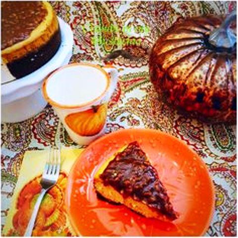 Pumpkin Spice New York Cheesecake with a Cognac Praline Sauce Very decadent pumpkin cheesecake! Get recipe here. crumbsinmymustachio