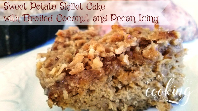 Sweet Potato Skillet Cake with Broiled Coconut and Pecan Icing