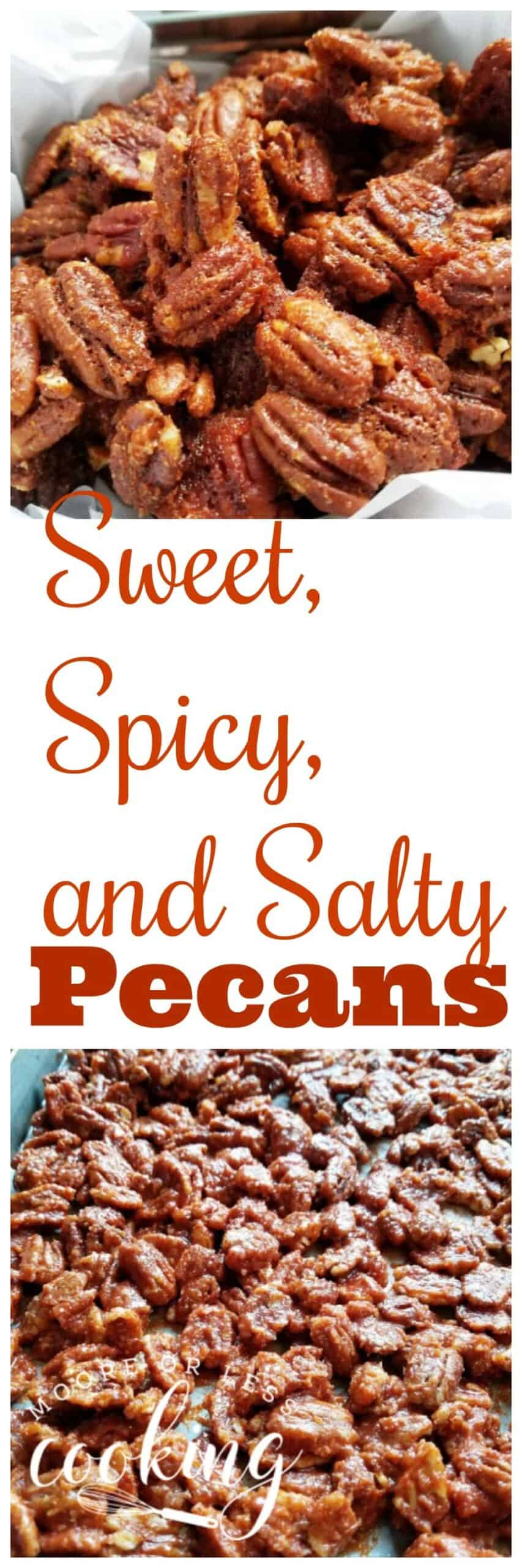 An incredibly tasty combination of sweet, spicy, and salty roasted pecans. Perfect for snacks or as an appetizer or gifts. Use as a topping for your favorite salad, ice cream, or cheesecake. via @Mooreorlesscook