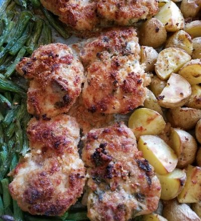 Sheet Pan Lemon Parmesan Chicken with Roasted Potatoes and Green Beans