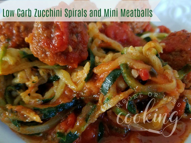 Low Carb Zucchini Spirals and Mini Meatballs