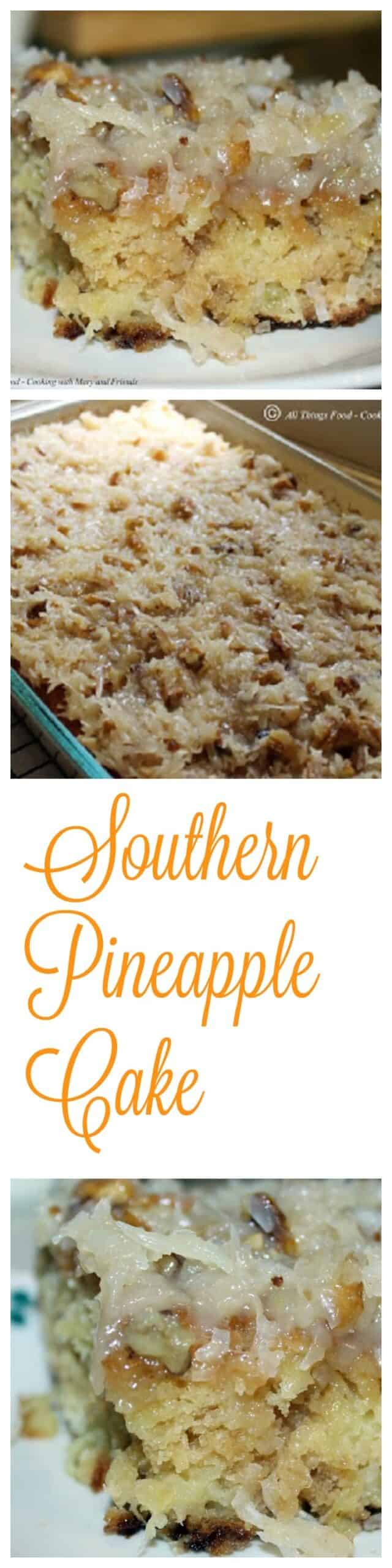 Southern Pineapple Cake is amazingly moist and delicious. It's so easy to make and even easier to eat! A simple, moist from scratch pineapple cake studded with pecans and coconut. via @Mooreorlesscook