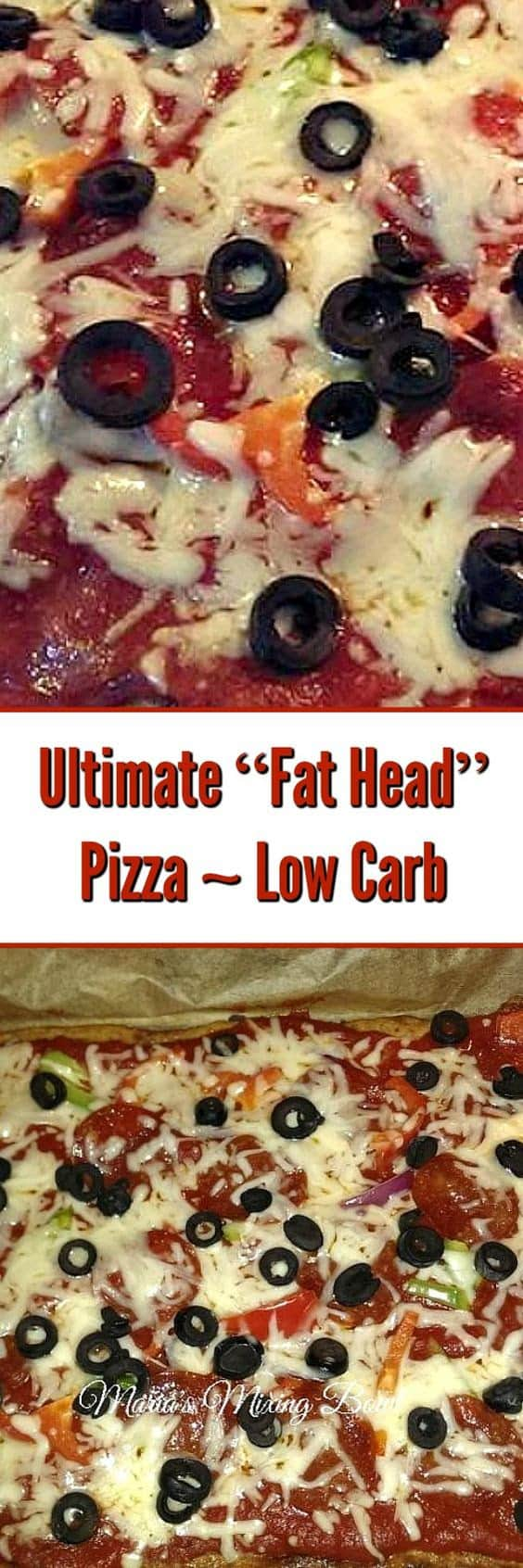 """The ultimate """"Fat Head"""" Pizza ~ Low Carb-You don't have to go without pizza just because you are eating low carb or grain-free! via @Mooreorlesscook"""
