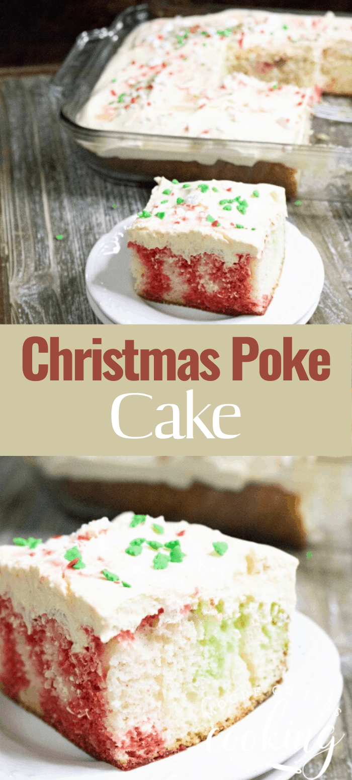 Festive and delicious Christmas Poke Cake. Delight your friends and family with this beautiful and yummy cake. #mooreorlesscooking #Christmas #cake #pokecake via @Mooreorlesscook