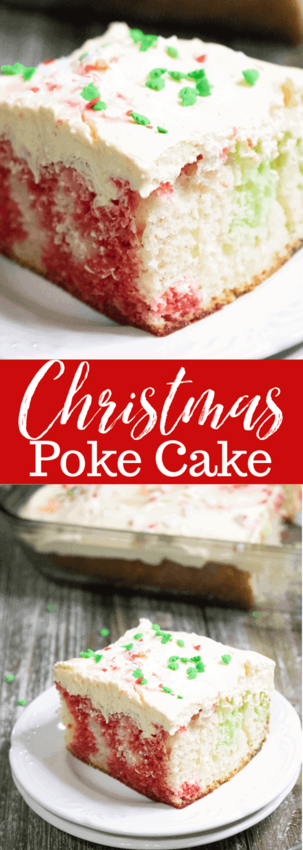 Festive and delicious Christmas Poke Cake. Delight your friends and family with this beautiful andyummy cake. #mooreorlesscooking #Christmas #cake #pokecake via @Mooreorlesscook