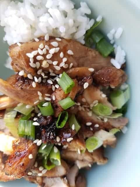 chicken and rice ready to eat sprinkle scallions and sesame seeds