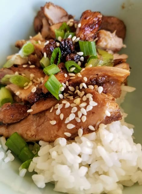 Garlic Soy Chicken sliced in bowl with white rice