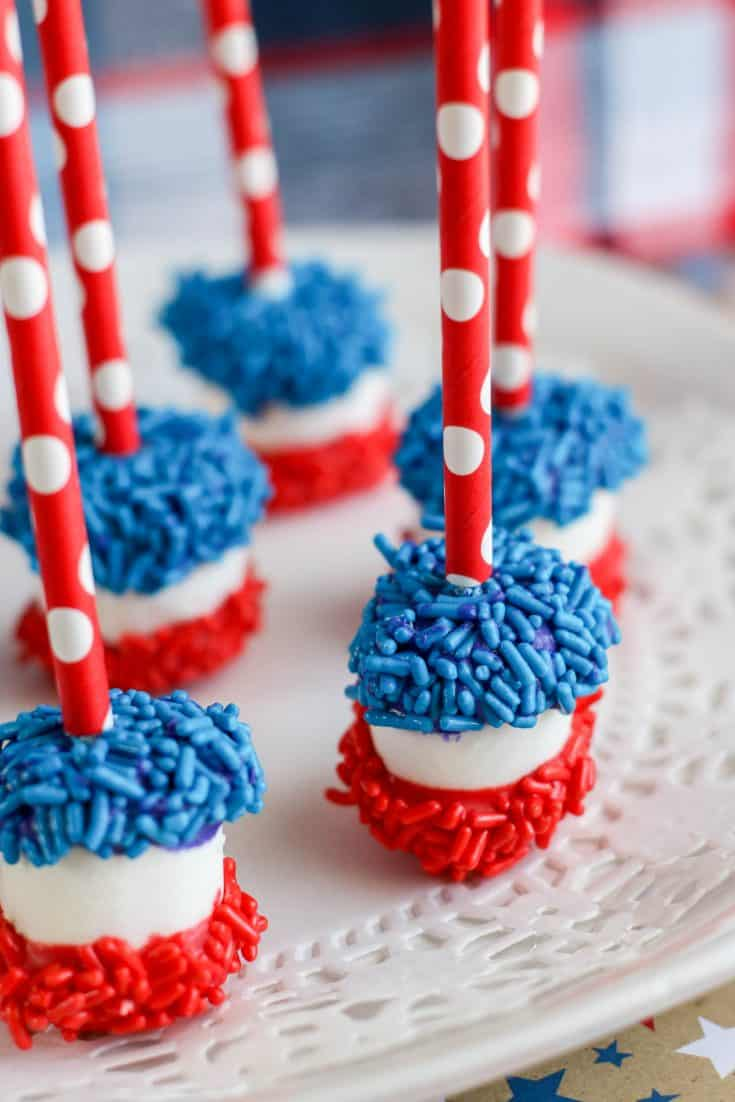 Red, White, and Blue Dipped Marshmallows