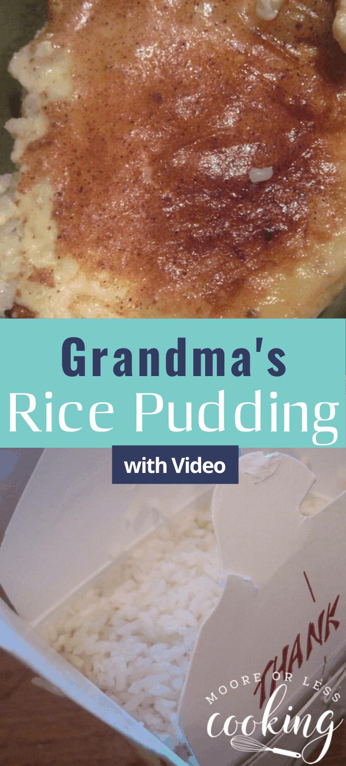 Grandma's Rice Pudding & Video via @Mooreorlesscook