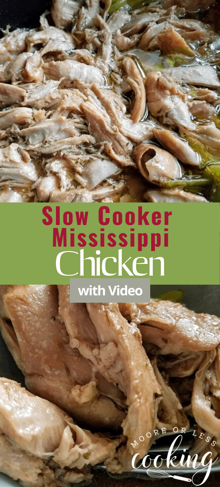 The Easiest Slow Cooker Mississippi Chicken recipe! #mooreorlesscooking #slowcooker #crockpot #chicken #dinner via @Mooreorlesscook