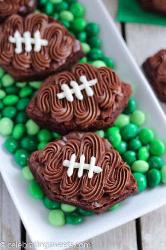 Football Brownies (no cookie cutter needed)