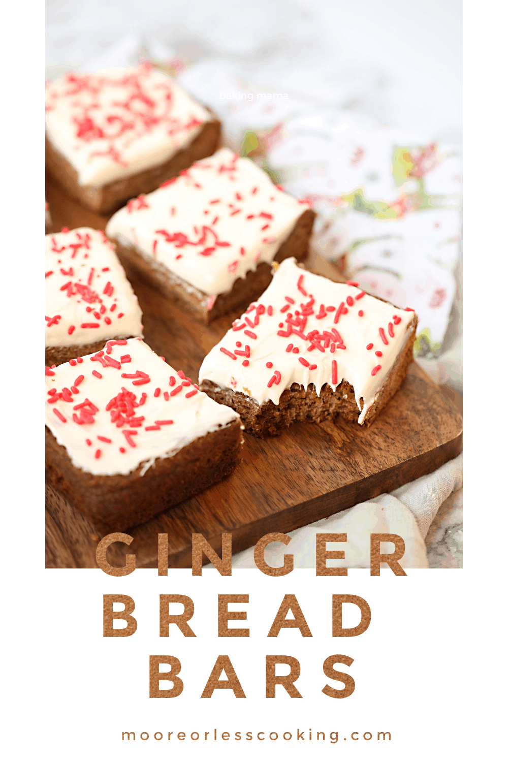 Craving gingerbread but don't want to spend all of that time to make those adorable gingerbread men? Try these quick and easy, soft gingerbread bars. #gingerbread #bars #gingerbreadbars #dessert #recipes #easy via @Mooreorlesscook