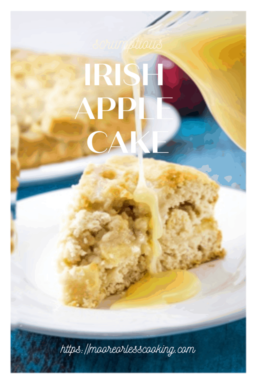 Irish Apple Cake is a deliciously moist cake with a surprise crunchy top and a rich whiskey cream sauce drizzled all over. #Irish #Irishapplecake #applecake #whiskeycreamsauce #food #recipes #dessert #mooreorlesscooking via @Mooreorlesscook