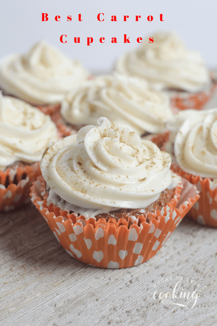 The best carrot cake recipe in cupcake form. No need to slice or share a big cake, just grab and eat a delicious cupcake. #mooreorlesscooking #cupcake #carrotcakecupcake #dessert via @Mooreorlesscook
