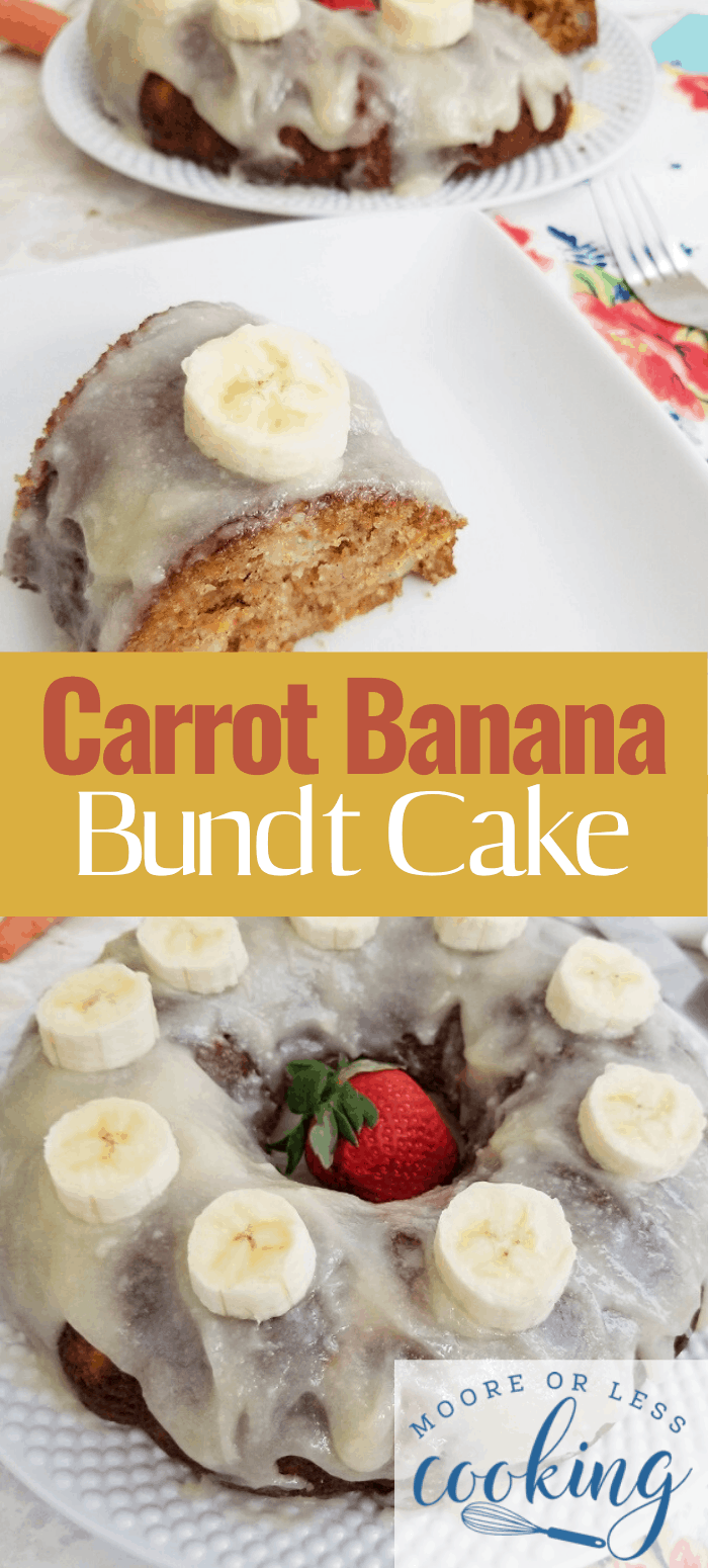 This moist and delicious Carrot Banana Bundt Cake is by far the easiest recipe, it's also perfect for using up bananas which are getting too ripe as it makes the cake a little sweeter and so moist and flavorsome, it'll keep for a couple of days. #carrotbananabundtcake #cake #mooreorlesscooking via @Mooreorlesscook