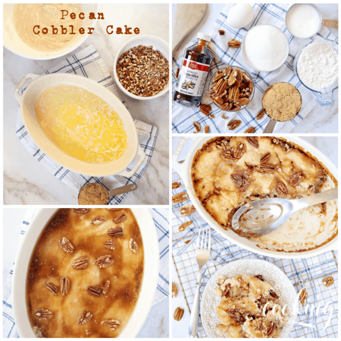Pecan Cobbler Cake is a pecan pie lovers dessert in the form of a cake. #pecancobblercake #cobbler #cake #pecan #dessert #mooreorlesscooking via @Mooreorlesscook