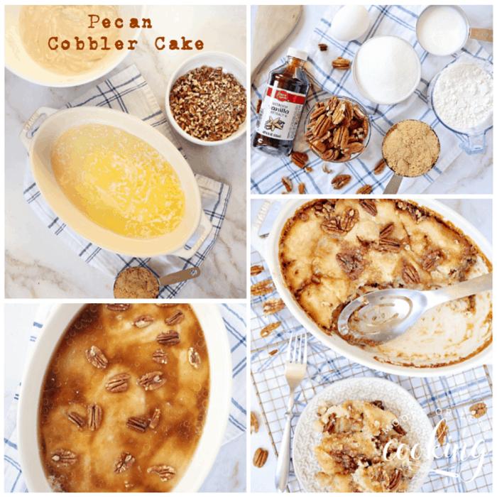 Pecan Cobbler Cake is a pecan pie lovers dessert in the form of a cake. #pecancobblercake #cobbler #cake #pecan #dessert #mooreorlesscooking via @Mooreorlesscook