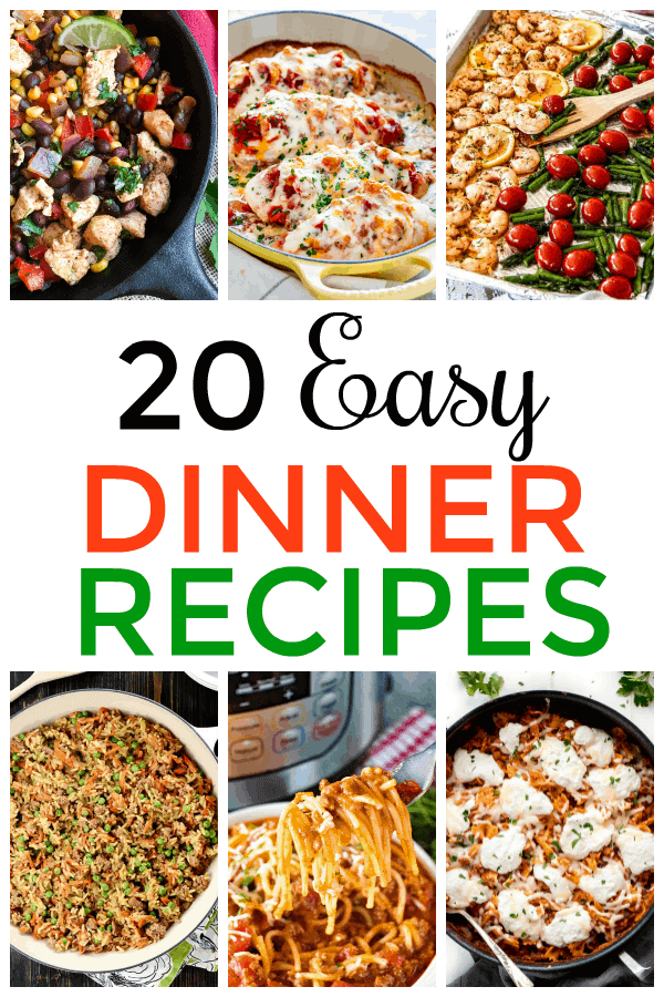 If you're looking for meals that are simple and fuss-free, you'll love these 20 easy dinner recipes! #Easydinner #20EasyDinner #dinner #mooreorlesscooking via @Mooreorlesscook