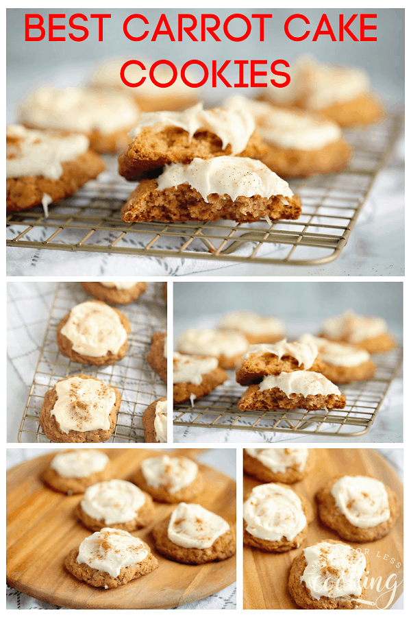 Best Carrot Cake Cookies with Cream Cheese Frosting These Best Carrot Cake Cookies with Cream Cheese Frosting are incredibly light and fluffy. Fully loaded with carrots and coconut, then topped with dreamy cream cheese frosting. #carrotcakecookies #mooreorlesscooking #easycookierecipe #carrotcake via @Mooreorlesscook