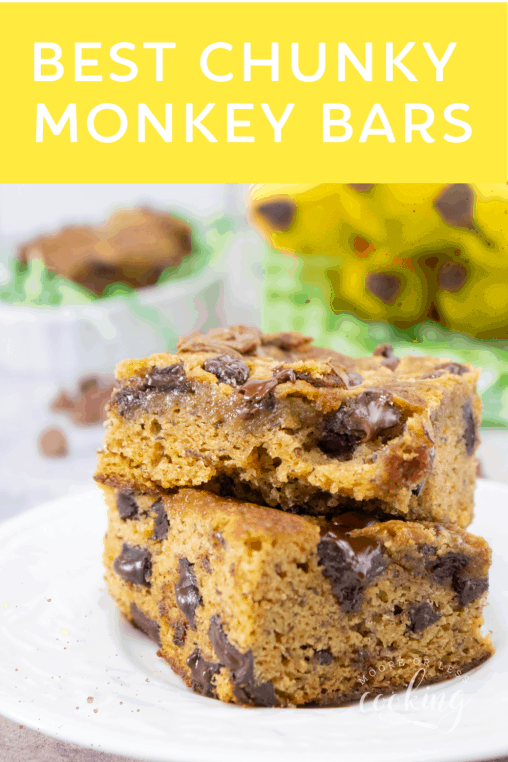 Best Chunky Monkey Bars. This is one of the best ways to use up those ripe bananas sitting on the counter. #cookiebars #banana #chocolate #dessertbar #mooreorlesscooking  via @Mooreorlesscook