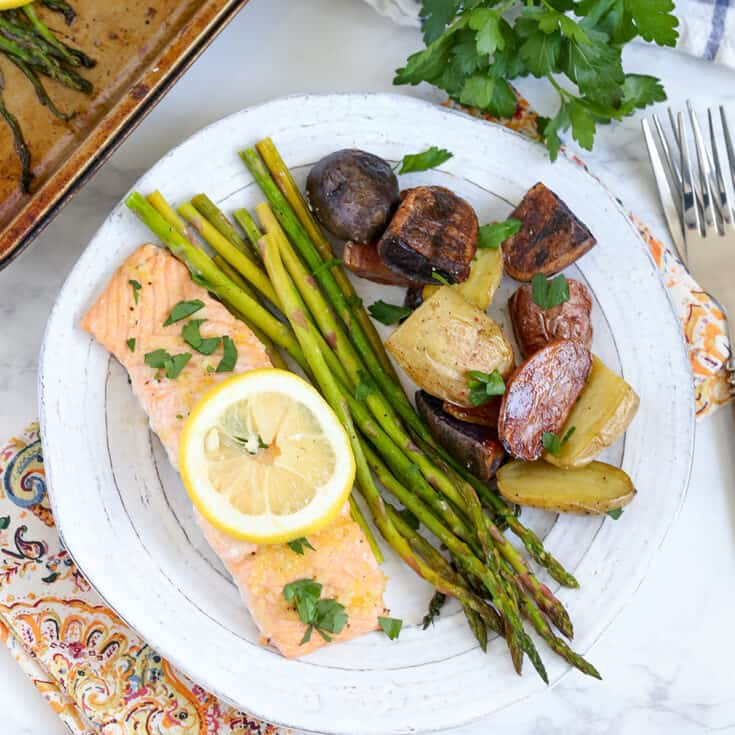 Sheet Pan Salmon, Asparagus and Potatoes | Easy One Pan Meal